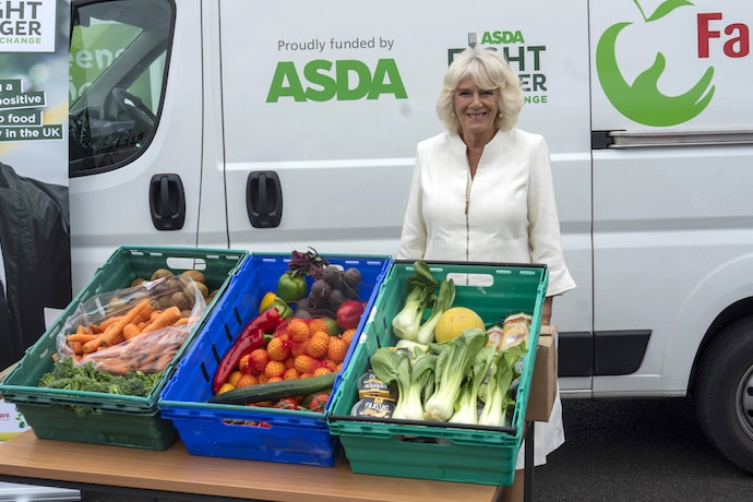 HRH The Duchess of Cornwall with some produce from ASDA,  donated to FareShare SW