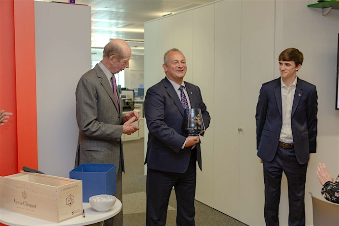 HRH presents the Queen's Award crystal to Ultrahaptic Managing Director Steve Cliffe and Founder Tom Carter