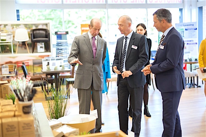 HRH is escorted around Nisbet Catering Store by Founder and Chairman Andrew Nisbet and Chief Executive Klaus Göldenblot