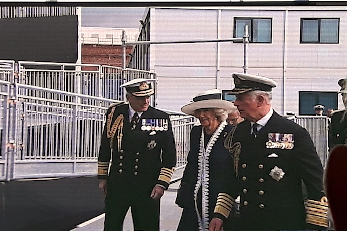 TRH The Duke and Duchess of Rothesay accompanied by Admiral Sir Philip Jones.