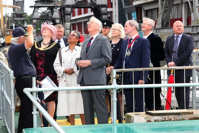 Alderman Royston Griffey (Chair, The Matthew of Bristol Trust) explains the flags flying on the Matthew to Lord Mayor Cllr Mrs Jos Clarke, High Sheriff Mr Charles Wyld and Consort, Stephen Williams (Consort to Lord Mayor), Tony Nichols (Harbour Maste