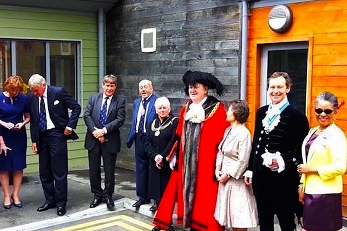 From left: Mrs Caroline Duckworth DL, Mr Charles Griffiths, Mr David Marsh, Mr Cullum McAlpine, Lady Mayoress & Lord Mayor of Bristol, Mrs Brown & Mr Anthony Brown, High Sheriff of Bristol, Mrs Peaches Golding OBE, Lord-Lieutenant of Bristol.