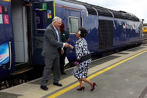 Lord-Lieutenant Mrs Peaches Golding OBE greets HRH The Duke of Gloucester on arrival at Bristol Temple Meads railway station.