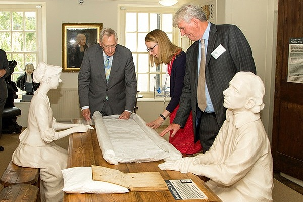 HRH shown historical documents in the New Room Museum by Ms Kate Rogers, Collection Manager and Mr Gary Best, New Room Warden.